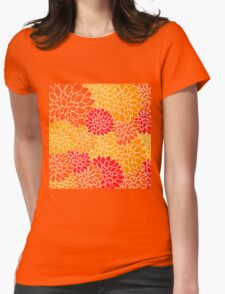 Vintage,retro,red,orange,yellow,70's,pattern,floral,elegant,chic Womens Fitted T-Shirt