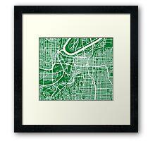 Kansas City Map - Green Framed Print
