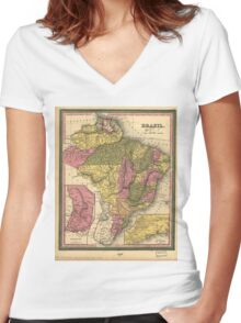 Vintage Map of Brazil (1846) Women's Fitted V-Neck T-Shirt