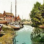 A digital painting of The Staithe, Potter Heigham, Norfolk Broads, England 19th century by Dennis Melling