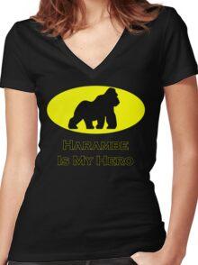 Harambe Batman Women's Fitted V-Neck T-Shirt