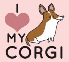 I Love My Corgi - Brown One Piece - Short Sleeve