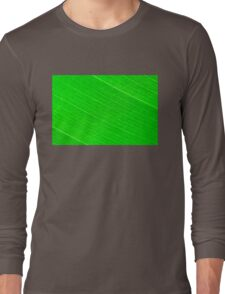Macro shot of green leaf, nature pattern background Long Sleeve T-Shirt