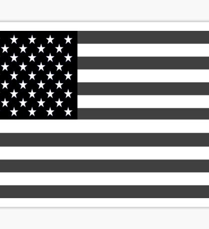 American Flag Black And White Sticker