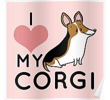 I Love My Corgi - Black Poster