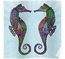 Electric Psychedelic Seahorses Poster