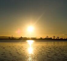 autumn sunset over dublin bay by Brian  Dwyer