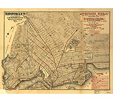 Vintage Map of Brooklyn New York (1874) Photographic Print