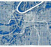 Kansas City Map - Deep Blue Photographic Print