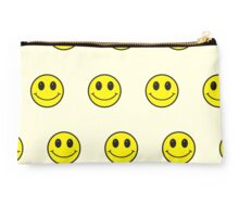 Big smiley faces pattern yellow,cream,black Studio Pouch