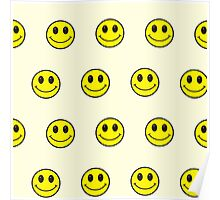 Big smiley faces pattern yellow,cream,black Poster