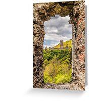 Blick durch Fenster auf eine andere Burg Greeting Card