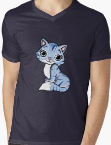 Cute Cartoon Cat Mens V-Neck T-Shirt