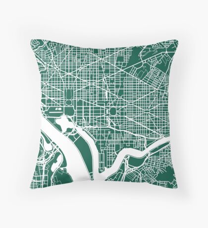 Washington DC Map Art  Throw Pillow
