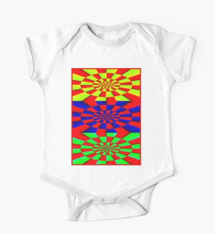 """ABSTRACT 3D"" Psychedelic Fun Print One Piece - Short Sleeve"