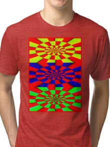 """ABSTRACT 3D"" Psychedelic Fun Print Tri-blend T-Shirt"