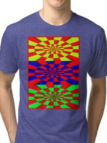 """""""ABSTRACT 3D"""" Psychedelic Fun Print Tri-blend T-Shirt"""