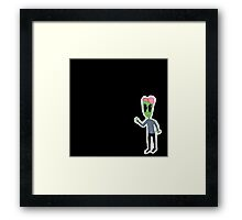 Sad Alien Boy™ Stuff With Peace Sign Framed Print
