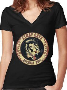 Stray Cats  (Runaway Boys) Vintage Women's Fitted V-Neck T-Shirt