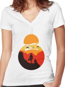Star Wars VII - BB8 & Rey 2 Women's Fitted V-Neck T-Shirt