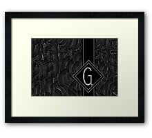 1920s Jazz Deco Swing Monogram black & silver letter G Framed Print