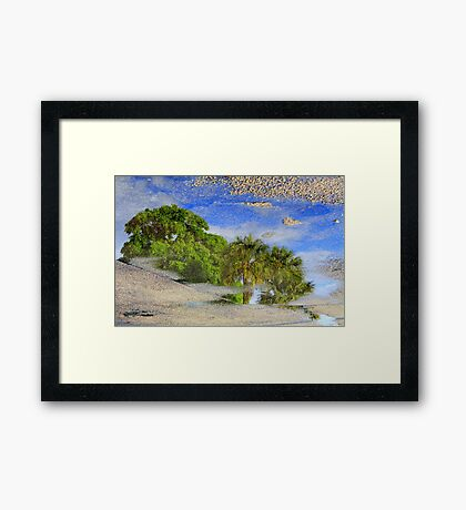 Reflection of Trees in Puddle Framed Print