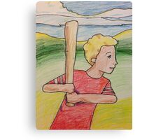 Boy Playing Baseball Canvas Print