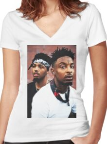 21Savage & Metro Boomin Women's Fitted V-Neck T-Shirt