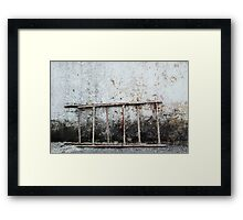 decayed wall with ladder Framed Print