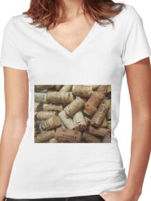 Wine Corks Women's Fitted V-Neck T-Shirt