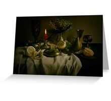 Still life with metal pots and fruits Greeting Card