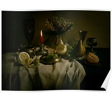 Still life with metal pots and fruits Poster