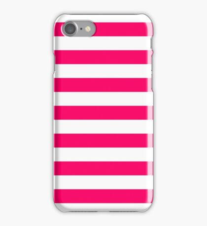 Bright Fluorescent Pink Neon and White Large Horizontal Cabana Tent Stripe iPhone Case/Skin