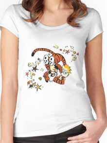 calvin and hobbes 1 Women's Fitted Scoop T-Shirt
