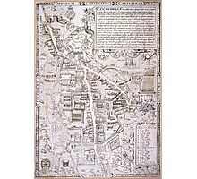 Vintage Map of Cambridge England (1574) Photographic Print