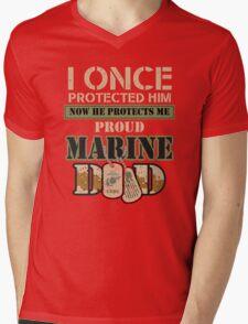 Proud Marine Dad Mens V-Neck T-Shirt