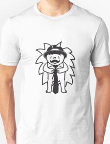 sir gentlemen herr mann mütze krawatte mustache schnurrbart schnautzer comic cartoon stehender süßer kleiner niedlicher igel  Unisex T-Shirt