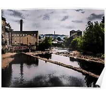 The Calder Through Sowerby Bridge Oil Painting Effect Poster