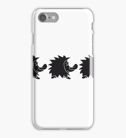 schwarz stehender süßer kleiner niedlicher igel  iPhone Case/Skin
