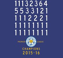 Leicester City FC Champions Table Positions 2015-2016 Unisex T-Shirt