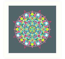 Mandala - Neon Dark Art Print