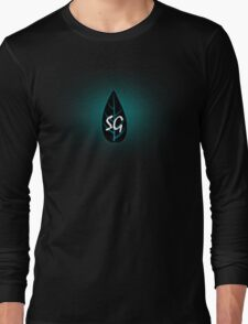 Glowing Blue Leaf Long Sleeve T-Shirt