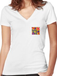 Abstract 0021 Women's Fitted V-Neck T-Shirt