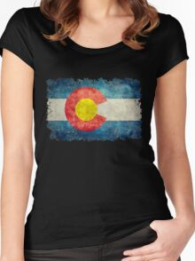 Flag of Colorado in vintage retro style Women's Fitted Scoop T-Shirt