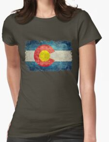 Flag of Colorado in vintage retro style Womens Fitted T-Shirt