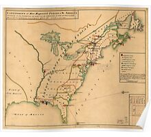 Vintage Map of British Forces in America (1766) Poster