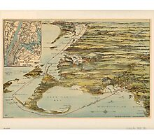 Vintage Cape Cod and NYC Steamboat Route Map Photographic Print