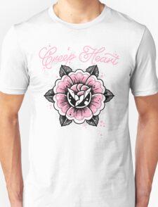 Pink Tattoo Rose Creep Heart Unisex T-Shirt