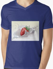 Strawberry and Milk Splash Mens V-Neck T-Shirt