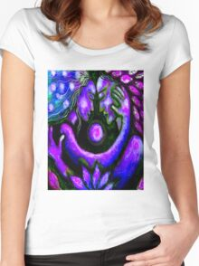 """""""PSYCHEDELIC COUPLE EMBRACING"""" Abstract Print Women's Fitted Scoop T-Shirt"""